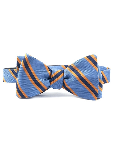 Silk and Cotton Woven Dual Stripe Bow in Cobalt