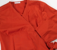 Marie Meunier Cotton Cache Coeur Wrap Top in Poppy