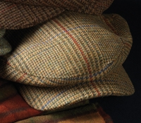 Wool Aberford Motoring Cap in Tan, Olive, Red, and Blue Plaid