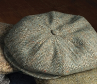 Wool Halifax Cap in Sage and Cream Herringbone