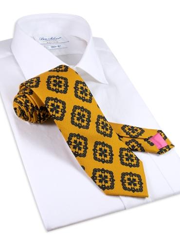 Silk Medallion Printed Tie in Marigold