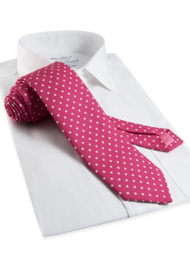 Cotton Print Dot Tie in Azalea
