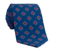 Wool Diamond Printed Tie in Regal Blue