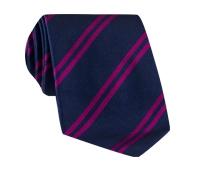 Silk Double Bar Stripe Tie in Navy