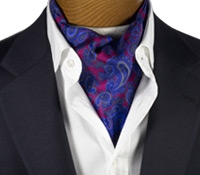 Silk Printed Paisley Ascot in Raspberry