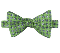 Silk Paisley Printed Bow Tie in Lime