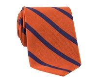 Mogador Bar Stripe Tie in Orange and Navy