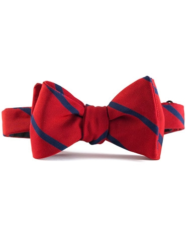 Mogador Silk Bar Stripe Bow in Red with Navy
