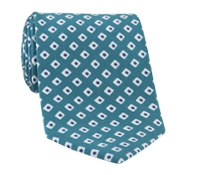 Silk Diamond Motif Tie in Teal