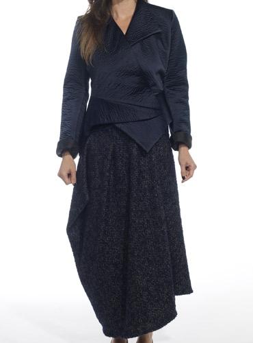 Marie Meunier Silk Flamande Wrap Blouse in Navy