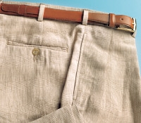 Cream and Nut Glen Plaid Trousers in Pure Linen