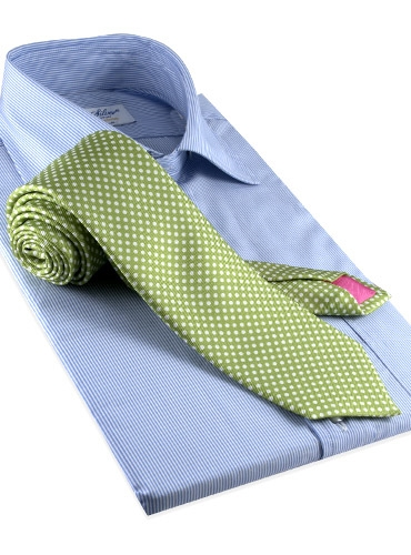 Silk Print Dot Motif Tie in Lime