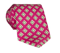 Silk Print Diamond Motif Tie in Fuchsia