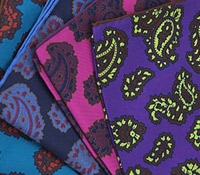 Silk Pocket Square with Paisley Motif