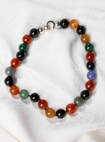 Multi-color Agate Bead Necklace
