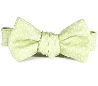 Silk Print Neat Bat Bow in Key Lime