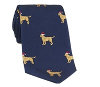 Silk Woven Christmas Dog in Navy