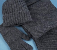 Cashmere Ribbed Scarf, Cap and Gloves in Derby Grey