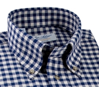 Navy and Cream Gingham Brushed Cotton Button Down