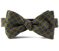 Silk Print Bow with a Diamond Motif in Olive