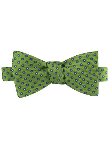 Silk Print Polka Dot Motif Bow Tie in Lime