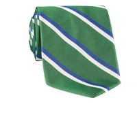 Woven Double Stripe Tie in Kelly