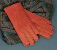 Cashmere Lined Deerskin Gloves in Orange