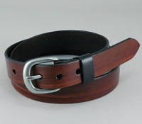 Dark Brown Leather Belt with Nickel Buckle