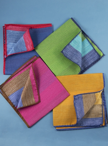 Silk and Linen Stripes & Solid Reversible Pocket Squares