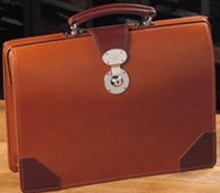 Large Top Frame Document Case in Hazel Bridle Leather with Chestnut Trim