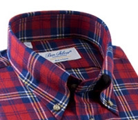 Red and Blue Plaid Brushed Cotton Button Down