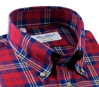Red, Blue and Yellow Plaid Brushed Cotton Button Down