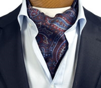 Silk Printed Paisley Ascot in Navy