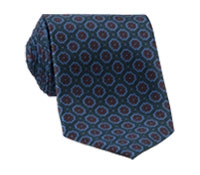 Silk Printed Madder Tie With Medallion Motif in Forest