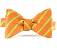 Mogador Bar Stripe Bow in Tangerine