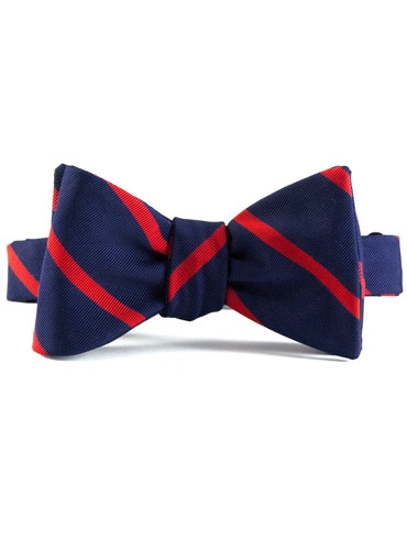 Mogador Silk Bar Stripe Bow in Navy with Red