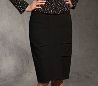 Black Wool Crepe Skirt with Tailored Puffs