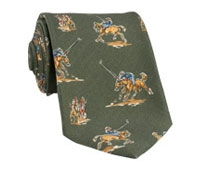 Silk Print Polo Player Motif Tie in Olive