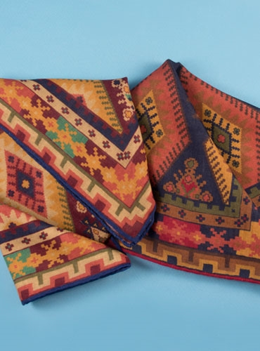 Wool and Silk Kelim Print Pocket Squares