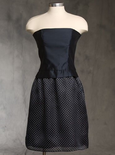 Midnight and Dot Strapless Dress