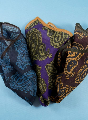 Wool and Silk Paisley Motif Pocket Squares