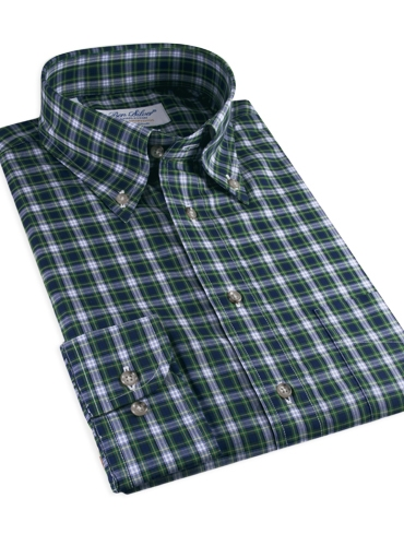 Navy and Green Plaid Button Down