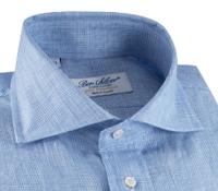 Blue and White Glen Plaid Linen Cutaway