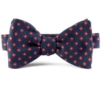 Silk Print Bow with a Diamond Motif in Navy