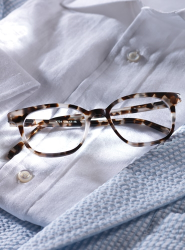 Slender Tip Frame in Cream Tortoise