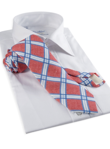 Linen Print Plaid Tie in Poppy