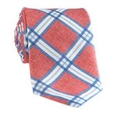 Linen Print Plaid Tie in Poppy