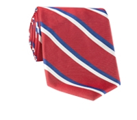 Woven Double Stripe Tie in Brick