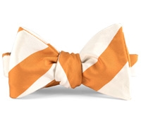Mogador Silk Stripe Bow in Tangerine