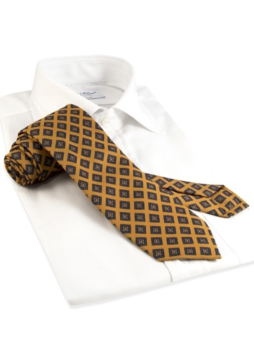 Mogador Silk Diamond Print Tie in Marigold